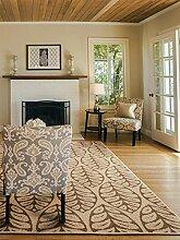 Benuta Flachgewebe Teppich Dawn Leafs Beige 133x190 cm | Pflegeleichter Teppich für Flur und andere Wohnräume