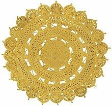 benuta Flachgewebe Teppich Samsara rund Gelb ø 150 cm rund | Pflegeleichter Teppich für Flur und andere Wohnräume