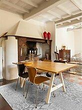benuta Flachgewebe Teppich Tosca Hellgrau 75x165 cm | Pflegeleichter Teppich für Flur und andere Wohnräume