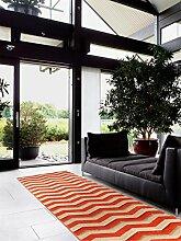 benuta Läufer Nagual Orange 80x290 cm   Moderner Teppich für Wohn- und Schlafzimmer