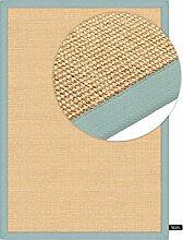 benuta Sisal Teppich mit Bordüre  Blau 140x200 cm | Naturfaserteppich für Flur und Wohnzimmer