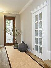 benuta Sisal Teppich mit Bordüre Läufer Braun 68x300 cm | Naturfaserteppich für Flur und Wohnzimmer