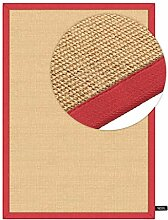 benuta Sisal Teppich mit Bordüre Rot 160x230 cm  
