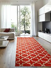 Benuta Teppich Läufer Arabesque Orange 80x290 cm | Moderner Teppich für Wohn- und Schlafzimmer