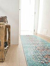 benuta Teppich Läufer Casa, Kunstfaser, Türkis, 70 x 240.0 x 2 cm