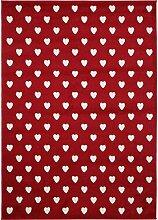 benuta Teppich Noa Love Rot 80x150 cm | Moderner