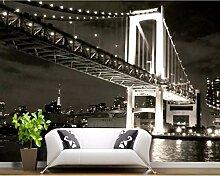 Benutzerdefinierte 3D-Tapete Schwarz-Weiß-Brücke