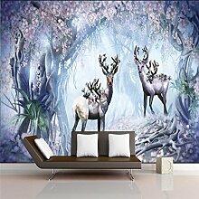 Benutzerdefinierte 3D Tapete Wandbild Wandaufkleber Nordic Nostalgie Wald Blume Elch TV Wand Hintergrund Wand 200cmX150cm
