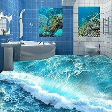 Benutzerdefinierte Boden Wandbild 3D Tapete Wandbild Stereoskopischen Ozean Meerwasser Schlafzimmer Bad Boden Tapete Pvc Wasserdichte Selbsthaftung 150Cmx100Cm