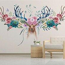 Benutzerdefinierte Fototapete Blumen Hirsch 3D