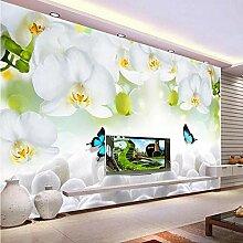 Benutzerdefinierte Fototapete Weiße Orchidee,