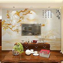Benutzerdefinierte Produkte der neuen Chinesischen tv Hintergrund Wandmalerei Ideen Jade orchid Schlafzimmer Tapete benutzerdefinierte videos Wand selbstklebende Tapete Wand 150 cm * 105 cm