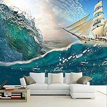 Benutzerdefinierte Tapete 3D Meer Welle Segelboot