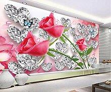 Benutzerdefinierte Tapete Diamant Rose 3D Liebe