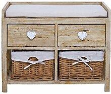 Bequeme Sitz Truhenbank Sitzbank Sitzkommode Kissen aus Holz Creme Shabby Vintage 4 Schubladen Herzen Diele (Kode RE4159)