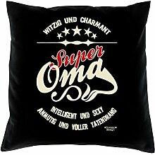 Bequemes Polster-Stuhl-Kissen mit Füllung und Gratis Urkunde im Set Super Oma Ideales Geschenk zum Geburtstag Weihnachten Farbe:schwarz