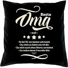Bequemes Polster-Stuhl-Kissen mit Füllung und Gratis Urkunde im Set Beste Oma weil Ideales Geschenk zum Geburtstag Weihnachten Farbe:schwarz