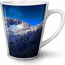 Berg Foto Natur Weiß Keramisch Latte Becher 12 oz | Wellcoda