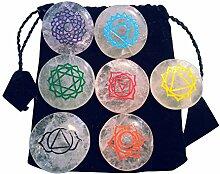 Bergkristall Handschmeichler Set mit 7 Chakra Symbolen