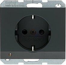 Berker BER41097006 Steckdose mit LED Orientierlicht Antrazith, 10 Stück