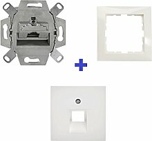 Berker mit Rutenbeck UAE-Anschlussdosen Set 1fach UAE 8 (8) Cat.6a, 1fach Rahmen + Abdeckung Alpinweiß