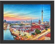 Berlin City Panorama im Schattenfugen Bilderrahmen
