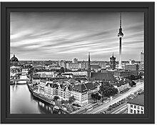 Berlin City Panorama Kunst B&W im Schattenfugen