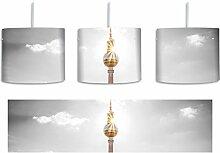 Berliner Fernsehturm am späten Nachmittag schwarz/weiß inkl. Lampenfassung E27, Lampe mit Motivdruck, tolle Deckenlampe, Hängelampe, Pendelleuchte - Durchmesser 30cm - Dekoration mit Licht ideal für Wohnzimmer, Kinderzimmer, Schlafzimmer