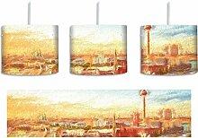 Berliner Skyline mit Fernsehturm inkl. Lampenfassung E27, Lampe mit Motivdruck, tolle Deckenlampe, Hängelampe, Pendelleuchte - Durchmesser 30cm - Dekoration mit Licht ideal für Wohnzimmer, Kinderzimmer, Schlafzimmer