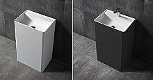 Bernstein Badshop Standwaschbecken TWZ26 aus Mineralguss Solid Stone - 50x36x85cm - Farbe wählbar, Farbe:Schwarz (hochglanz)
