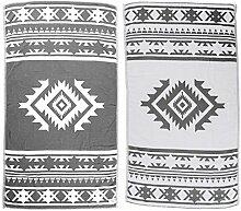 Bersuse 100% Baumwolle - Cozumel Türkisches Handtuch - Doppellagiges Gewebe - Badestrand Fouta Peshtemal - Azteken Design auf Handwebstuhl Pestemal - 100X180 cm, Silber-Grau