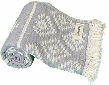 Bersuse 100% Baumwolle - Teotihuacan Türkisches Handtuch - Badestrand Fouta Peshtemal - Azteken Design auf Handwebstuhl gewebtes Pestemal - 100X180 cm, Silber-Grau
