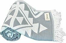Bersuse 100% Baumwolle - Yucatan Türkisches Handtuch - Doppellagiges Gewebe - Badestrand Fouta Peshtemal - Azteken Design auf Handwebstuhl Pestemal - 100X180 cm, (Silber-Grau)