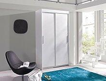 BERTA Schiebetürenschrank Kleiderschrank Möbel Schrank modernes Design Matt Weiß (Korpus: matt weiß / Front: matt weiß)