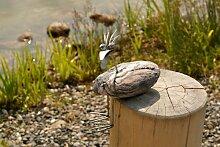 Berta sitzend Steinvogel aus Edelstahl und Naturstein handgefertigte Gartendeko Größe S ca. 20 cm