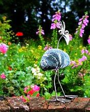 Berta stehend Steinvogel aus Edelstahl und Stein ein schöner Gartenvogel die besondere Art der Gartendeko Größe S ca. 20 cm