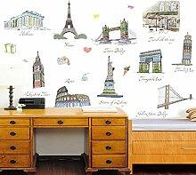Berühmte Gebäude Eiffelturm Freiheitsstatue Wand Aufkleber PVC Home Aufkleber House Vinyl Papier Dekoration Tapete Wohnzimmer Kunst Bild DIY Wandmalereien Mädchen Jungen Kids Kinderzimmer Baby