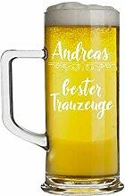 Beschdstoff Bierglas mit Gravur für Trauzeuge-
