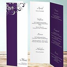 Besondere Menükarten Hochzeit, Garten der Träume 25 Karten, Vertikale Klappkarte 100x300, Lila