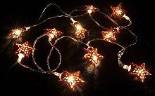 best ambiente Lichterkette Stern Rot Weihnachtsbeleuchtung Dekolichterkette