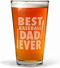 Best Baseball Dad Ever Gravur Bierglas mit Gravur