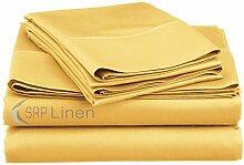 Best Bettwäsche Premium Qualität 4PCS-Bettlaken-Set (massiv–alle Farben) Fadenzahl 400, (Deep Pocket–45,7cm) alle Größen 100% ägyptische Baumwolle–von SRP Leinen, baumwolle, gold, Emperor