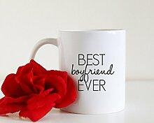 Best Boyfriend Ever Tasse Freund Kaffee Tasse Einzigartige Geschenkidee Typografie Kaffee Tasse Geschenk für ihn Kaffee Liebhaber Geschenk Tee Partner Geschenk