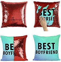 Best Boyfriend P175 Sequin Pillow, Kissen, Funny