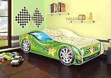 Best For Kids Autobett Kinderbett Bett Auto Car Junior in vier Farben mit Lattenrost und Matratze 70x140 cm Top Angebot! (Grün)