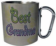 Best grandma Edelstahl Karabiner Reisebecher 11oz