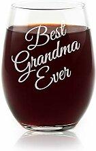 Best Grandma Ever Weinglas, ohne Stiel,