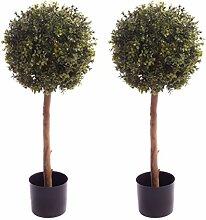 Best Künstliche Buchsbaumkugel, 90 cm, 2 Stück