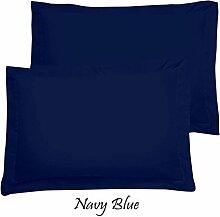 Best Night 's Sleep (Set von 2-pcs) Oxford Kissen {alle Farben –} 400Fadenzahl, aus 100% ägyptischer Baumwolle Alle Größe–Durch SRP Leinen, baumwolle, marineblau, UK King