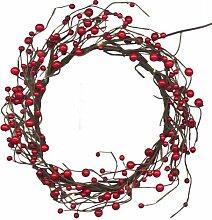 Best Season LED-Dekokranz Berry Wreath mit 16 warm weiß LED, mit Trafo circa 30 x 30 cm, braun mit roten Beeren 581-21